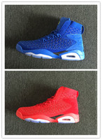 New 6 blue high cut red men basketball shoes sports sneakers...