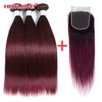 Brazilian Straight Ombre Human Hair Weaves 3 Bundle with Lac...