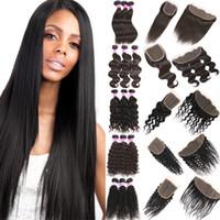 Extensões de cabelo humano virgem brasileiro em linha reta 100% não processado onda profunda de água do corpo pacotes com fechamento frontal Kinky cabelo encaracolado produto