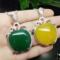 Naturstein Gem Jade Ohrringe 925 Sterling Silber Tropfen Ohrringe Frauen Schmuck Vintage Apple Ohrringe Ring Halskette
