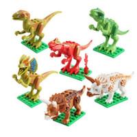 12 قطع اللبنات ديناصور تجميع لعب 6-7-8-10 سنة الصبي ألعاب تعليمية الجوراسي الديناصور ريكس