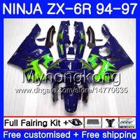 Bodys für Kawasaki ZX 636 600cc ZX 6R 1994 1995 1996 1997 213HM.44 ZX600 Grüne Flammen blau ZX636 ZX6R 94 97 ZX6R 94 95 96 97 Verkleidungs
