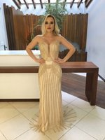 Bainha de ouro Africano Bling Elegante Noite Formal Vestidos de Diamantes 2019 Sexy Longo partido Prom Vestidos de Celebridades Do Tapete Vermelho