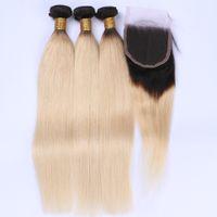 금발 옹 브르 버진 머리카락 대들 거래 3xcl 클로저 스트레이트 # 1B / 613 Ombre 금발 페루 인간의 머리카락 4x4 레이스 클로저와 함께