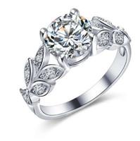 Если мне свадьба Кристалл серебряный цвет кольца лист обручальное золото цвет кубический Циркон кольцо мода новый бренд Bijoux для женщин