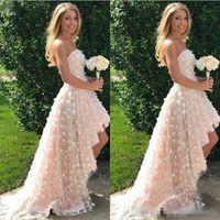 2018 Floral 3D apliques vestidos de novia sin tirantes de una línea de alta bajo barrido vestido de novia de la boda del tren Jardín del país