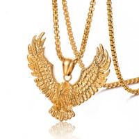 Ретро орел мужское ожерелье из нержавеющей стали 316L 18k позолоченное мужское животное ястребиное крыло подвеска