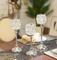 Форма чашки держатель ретро Кристл свечки, 1-рука канделябры с 1 бесплатным свечи, декоративные свечи CD02
