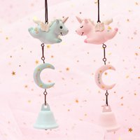 1pc Cute Novelty Resin Cartoon Animal Pink horse wind bell O...