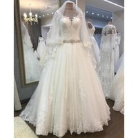 Lace Wedding Dresses Scoop Neck A- Line Long Sleeves Lace But...