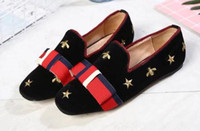 AAAAA Quality Women Embroidered Bees and Stars Velvet Ballet...