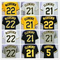 637d5c057 2018 Men s Pittsburgh 5 Harrison 21 Clemente 22 McCutchen Black White Grey  Yellow Flex Base Baseball Jerseys 100% Stitched Embroidery