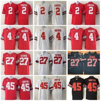 f787dc9cd Men Football 2 Cris Carter Jersey Ohio State Buckeyes College 4 Santonio  Holmes 27 Eddie George 45 Archie Griffin Embroidery Black Red White