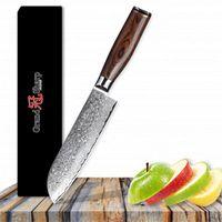 그랜드 샤프 7 인치 산토 쿠 나이프 다마스커스 스틸 나이프 67 레이어 일본 다마스커스 스틸 일본 다마스커스 Santoku Kitchen Chef Knives
