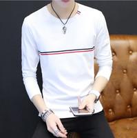 Man's Strip Camiseta de manga larga de algodón blanco Camiseta de primavera y otoño Slim Crew Neck
