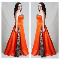 Vintage Camo Orange Plus Size A Line Vestidos de novia Piso sin tirantes Largo Lace Up Vestidos de novia personalizados para Forset Garden Wedding Barato