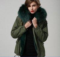 MEIFENG marka güzel yeşil kürk trim yeşil tavşan kürk astar ordu yeşil mini parkas kadınlar tavşan kürk tuval ceketler kar mont