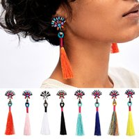 10. 9cm Vintage 8 Colors Cotton Tassel Drop Earring Resin Gem...