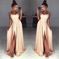 2018 Peach Sexy Split Side High Lace Top Prom Dresses Spaghe...