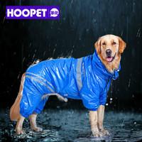 HOOPET домашних животных большие собаки дождевик из двери ходить водонепроницаемый съемный дождевик защита воды большая собака одежда синий