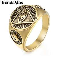 Trendsmax الدائري للرجال 316L الفولاذ المقاوم للصدأ الذهب والفضة اللون المتنورين الهرم العين الدائري الهيب هوب مجوهرات اكسسوارات HR365