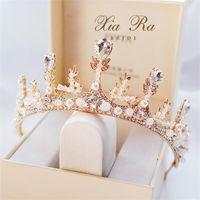 Sparkly Kristallen Hochzeit Kronen Strass Perlen Haarschmuck Brautkrone und Tiaras Schnelle Lieferung Auf Lager