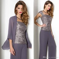 Elegante 3 pezzi Mother of the Bride Pant Abiti 2018 New Mothers Pants Suit con manica lunga Body in pizzo