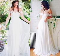 Praia do casamento Chiffon A linha Longos vestidos de noiva com pregas até o chão fora do ombro Vestidos de casamento baratos Custom Made