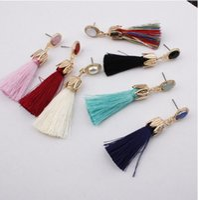Leaf Tassel Earrings Exaggerated Dangle Earrings Cotton Thread Multi Color Fringe Thread Drop Dangle Earrings
