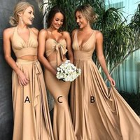 Sexy Long Gold Bridesmaid Dresses Deep Neck Empire Split Side Elastic Silk Like Satin Beach Boho Bridesmaid Gowns