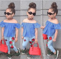 Kid Baby Girl Clothing Flower Clothes Off Shoulder Tops T- Sh...