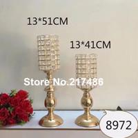 Uzun boylu Trompet cam kristal Vazolar Düğün Centerpieces