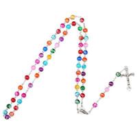 Joyas de colores arcilla del polímero cuenta del rosario pendiente de la aleación Collar de la Cruz Virgen María centros de mesa cristiano católico
