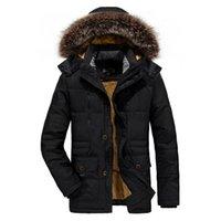 ICPANS Parka Ceket Erkekler Uzun Kürk Kış Parka Erkekler Coats Artı Sıcak Siyah Fermuar Ceket Mens Artı Boyutu XXXL 4XL 5XL 6XL
