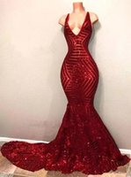 2018 Red Sequins Prom Dresses Sleeveless Mermaid Plunging V ...