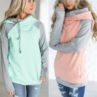 Double Color Zipper Stitching Hoodies Mulheres Long Sleeve Patchwork Pullover Winter Women Jacket Sweatshirts Jumper Tops Branco Rosa Tamanho S-2XL