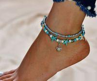20pcs / lot Silver Chain Shell Starfish Charms cavigliera braccialetto a piedi nudi Sandalo Beach Foot