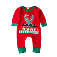 Navidad recién nacidos bebés de los muchachos reno geométricas pijamas ropa de manga larga Rojo Verde Body mameluco de Navidad linda del bebé Ropa 0-24 M