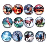 12pcs lot Horse Theme Glass Charms 18mm Snap Button Jewelry ...