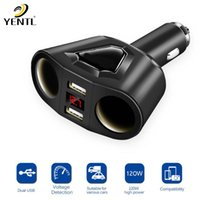 YENTL envío gratis Dual USB Cargador 2 Way Car Cigarrillo Encendedor Splitter Adapter Port 2 Way para Splitter DC 12 24V dropship de fábrica