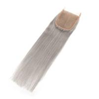 실버 그레이 컬러 스트레이트 레이스 클로저와 아기 머리 표백 매듭 레미 인간의 머리카락 4x4 레이스 클로저