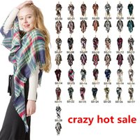 Winter Scarf Women Plaid Scarf Designer Triangle Cashmere Sh...