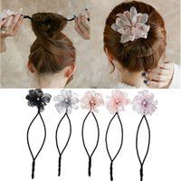 Woman Flower Donuts Twist Headband Magic Hair Bun Maker DIY ...