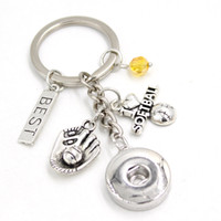 Nouvelle arrivée bricolage interchangeable 18 mm pression bijoux pression chaîne porte-clés que j'aime softball porte-clés sac à bijoux charme boutons-clés pour fans de sport cadeaux