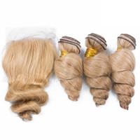 Extensiones de cabello humano de onda suave rubia suelta Ofertas de trama de cabello virgen peruana 613 Pelo de onda suelta rubia con cierre de encaje 4x4