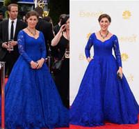 Blue Lace Celebrity Dresses Evening Wear Vintage 2018 Emmy Awards Mayim Hoya Bialik New Arrival Party V Neck Long Sleeves Party Prom Dress
