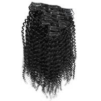 """7pcs mongol afro crépus bouclés clip ins cheveux humains 100g afro-américain afro kinky pince à cheveux dans les extensions 16 """"18"""" 20 """"22"""" 24 """"26"""""""