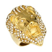 Lujoyce HIPhop Lion Head Anillo Micro Pave Rhinestone Iced Out Bling Mens Ring IP Gold Filled Titanio Anillos de acero inoxidable para hombres Joyería