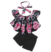 Neue Kinder Kleidung Sets Floral Slash Neck Tops Shorts Stirnbänder 3er Set Kindermode Mädchen Kinder Boutique Babys Kleidung Outfits