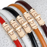 Simple Pure Belt Leather Dress Chain Rotate To Buckle Belts ...